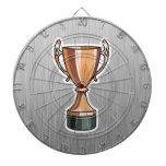 Trophy; Brushed Metal-look Dartboard