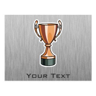 Trophy; Brushed Metal-look Postcard