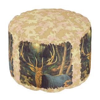 Trophy Bull Elk Head Round Pouf