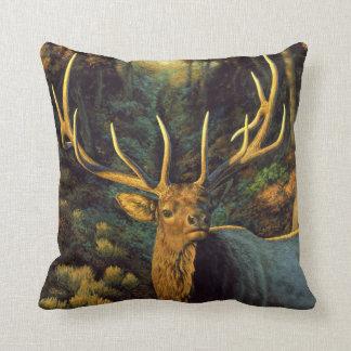 Trophy Bull Elk Head Throw Pillow