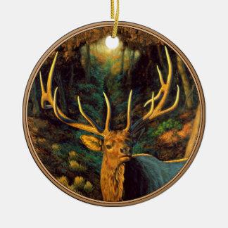 Trophy Bull Elk in Autumn Ceramic Ornament