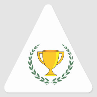 Trophy Cup Wreath Triangle Sticker