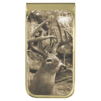 Trophy Deer Gold Finish Money Clip