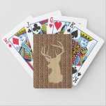 "Trophy Deer with Antlers Bicycle Playing Cards<br><div class=""desc"">Trophy Buck with Antlers Silhouetted in Brown on Leather Look Herringbone Pattern</div>"