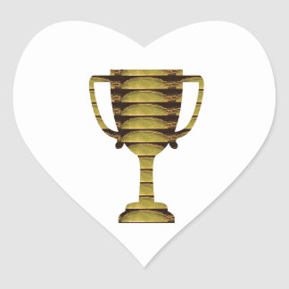 TROPHY GOLD: Business Success, Competition, Sports Heart Sticker