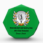"""Trophy Golf Club Champion Award Green<br><div class=""""desc"""">You can personalize the text on this golf club championship trophy award. Use it as an award for an annual club championship game or for any other golf related event that you want an award for. You can change out the elegant emblem as well for your own logo. You can...</div>"""