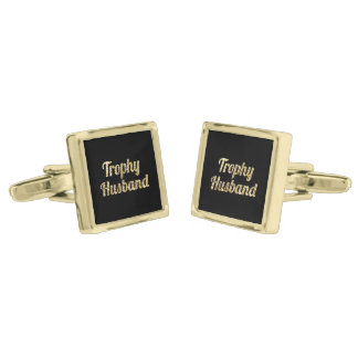 Trophy Husband Black and Gold Glittery Gold Cufflinks