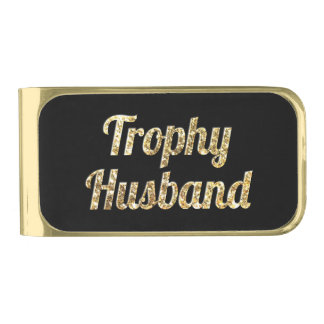Trophy Husband Black and Gold Glittery Gold Finish Money Clip
