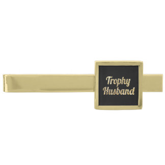 Trophy Husband Black and Gold Glittery Gold Finish Tie Clip