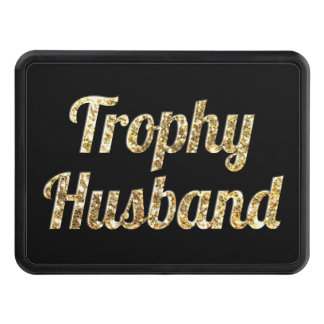 Trophy Husband Black and Gold Glittery Hitch Cover
