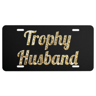 Trophy Husband Black and Gold Glittery License Plate
