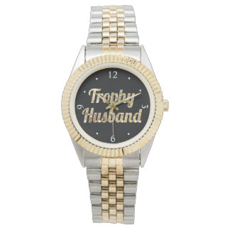 Trophy Husband Black and Gold Glittery Wrist Watch