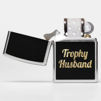 Trophy Husband Black and Gold Glittery Zippo Lighter