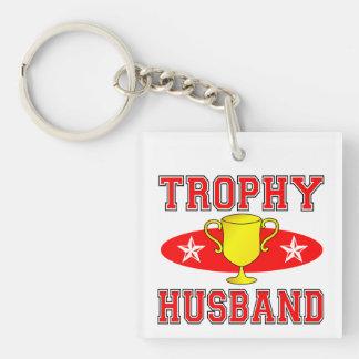 Trophy Husband Single-Sided Square Acrylic Keychain