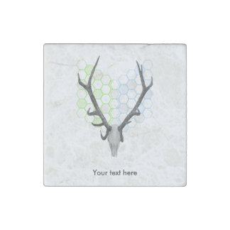 Trophy stag antlers geometric pattern stone magnet