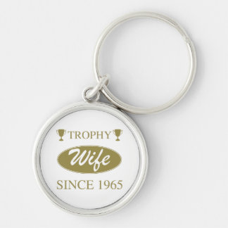 Trophy Wife Since 1965 Silver-Colored Round Keychain