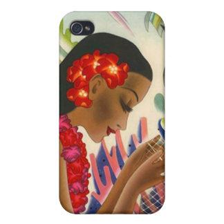 Tropi del chica de la isla hawaiana de las redes d iPhone 4 cárcasa