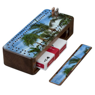 Tropial Afternoon Wood Cribbage Board