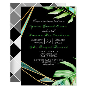 Tropic Aqua Black White FrameGreen Birthday Bridal Invitation