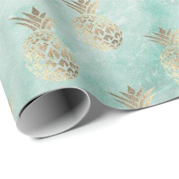 McTiffany Tiffany Aqua tropic aqua mint green marble stone pineapple gold wrapping paper