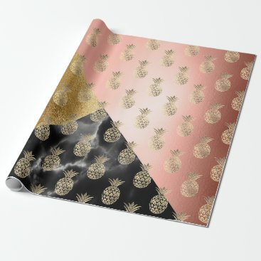 Beach Themed tropic black rose geom marble stone pineapple gold wrapping paper