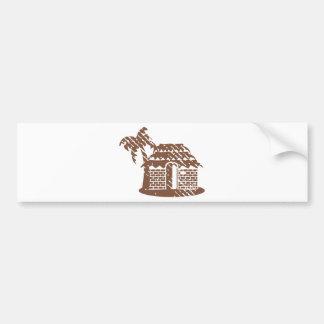 Tropic grungy hut / cabin vector bumper sticker