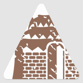 Tropic grungy hut / cabin vector triangle sticker