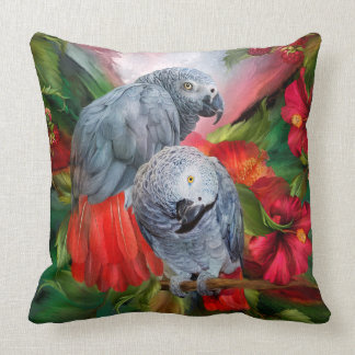 Tropic Spirits - African Greys Art Designer Pillow