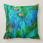 Tropic Spirits - Gold and Blue Macaw Art Pillow