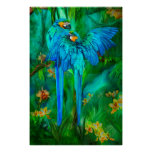 Tropic Spirits - Gold and Blue Macaws Art Poster