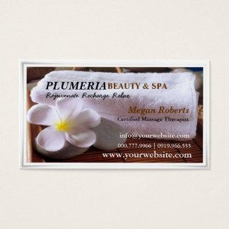 Tropic White Plumeria Spa Skin Care Massage Salon Business Card