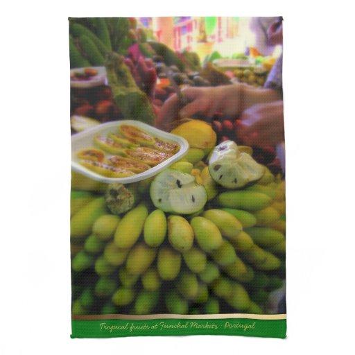Tropica Fruits @ Funchal Markets Portugal Teatowel Kitchen Towel