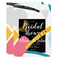 Tropical Abstracto Collage Bridal Shower Invitation