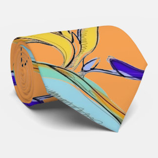 Tropical Accent Floral Bird-of-Paradise (Orange) Tie