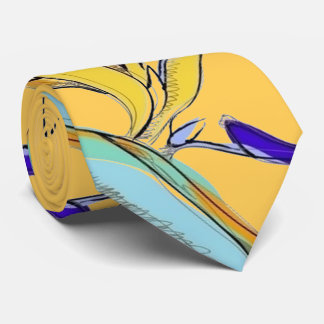 Tropical Accent Floral Bird-of-Paradise (Yellow) Tie