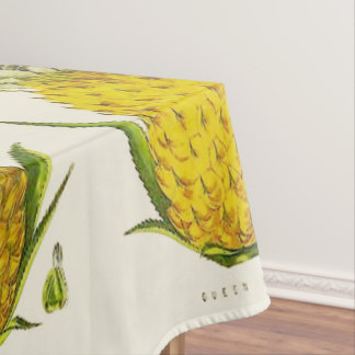 Tropical Accent Vintage Botanical Queen Pineapple Tablecloth