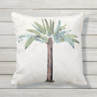 Tropical Accent Watercolor Palm Tree Desinger Outdoor Pillow