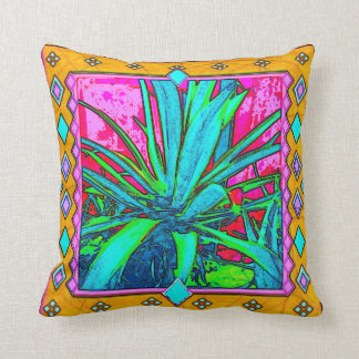 Tropical Agave Turquoise Pillow by Sharles