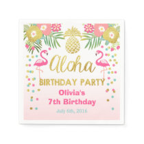 Tropical Aloha Flamingo Birthday Paper Napkin