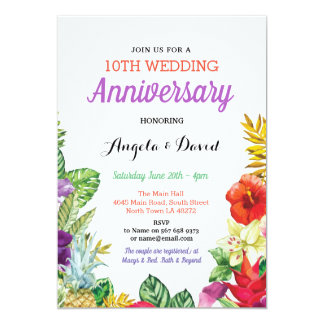 Tropical Aloha Wedding Floral Anniversary Invite