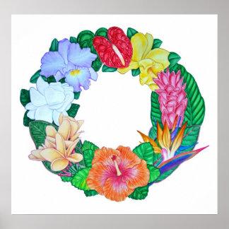 Tropical Aloha Wreath Poster