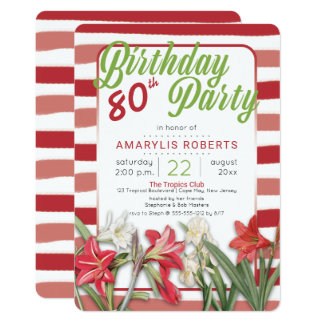 Tropical Amarylis Striped 80th Birthday Party Card