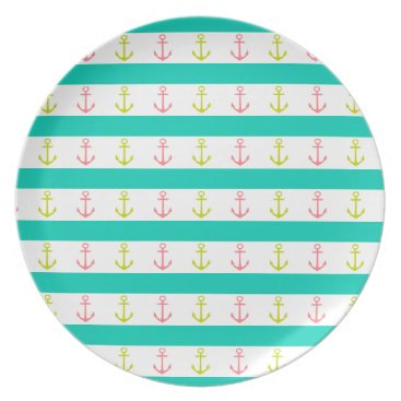 Beach Themed Tropical Anchors and Stripes on White Dinner Plate