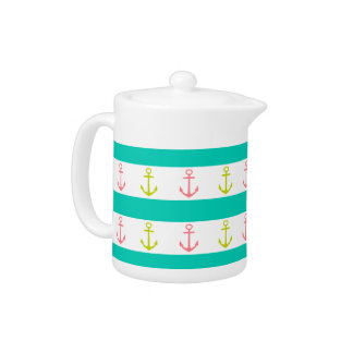 Tropical Anchors and Stripes on White Teapot