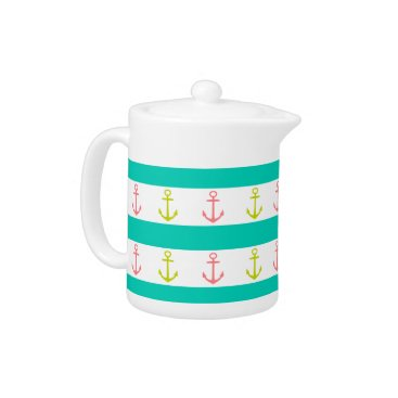 Beach Themed Tropical Anchors and Stripes on White Teapot
