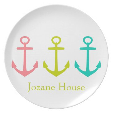 Beach Themed Tropical Anchors on White Plate