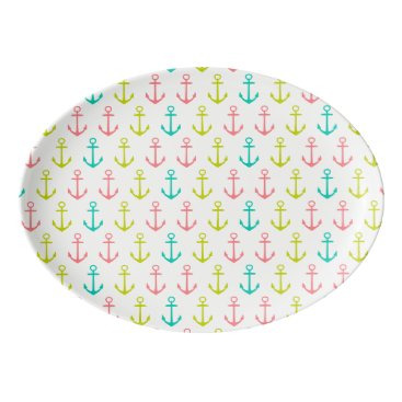 Beach Themed Tropical Anchors on White Porcelain Serving Platter