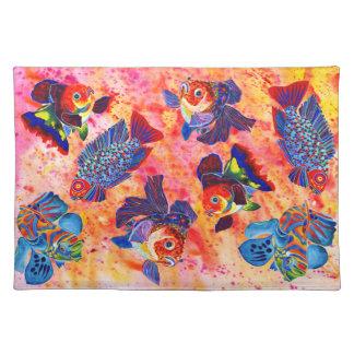 Tropical and goldfish design place mat cloth placemat