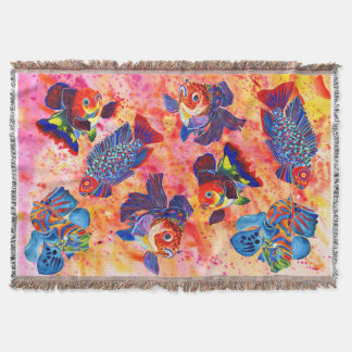 Tropical and goldfish design throw blanket