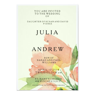 Tropical Apricot Floral Watercolor Wedding Invite